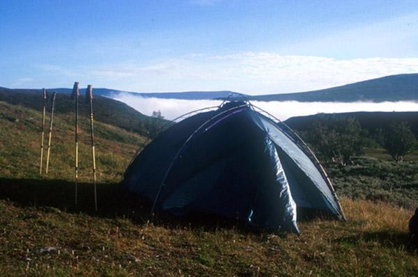 Sarek 2002. Lagerplatz über den Wolken.
