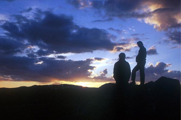 Sarek 2002. Abendstimmung auf dem Låutak-Gipfel.
