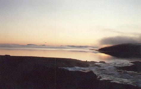 Sarek 1988. Abendstimmung am Virihaure.