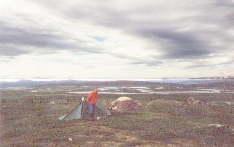 Sarek 1988. Unser Lager hoch über der Parek-Ebene.