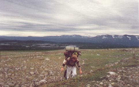 Sarek 1988. Aufstieg zum Stuor Jerta Pass.