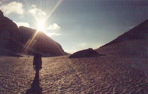 Sarek 1988. Kurz vor der Passhöhe des Lullihavagge.