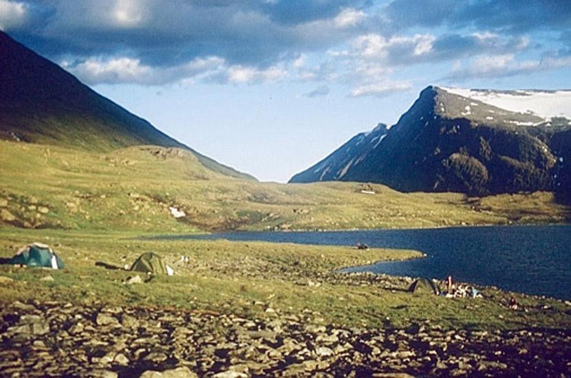Sarek 1996. Lagerplatz am Alkajaure.