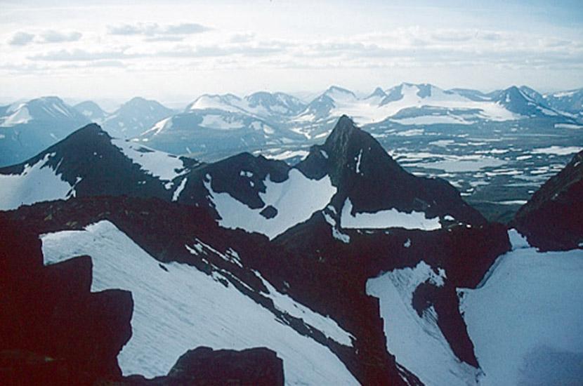 Sarek 1996. Blick vom Partetjakka.