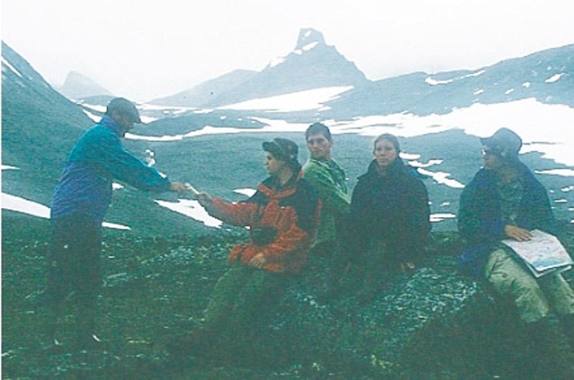 Sarek 1996. Rast vor der Schwarzen Spitze.