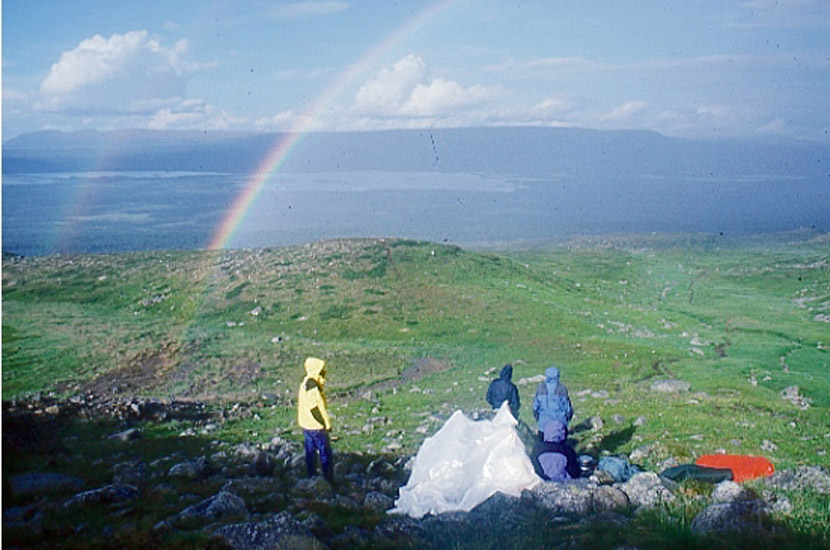 Sarek 2000. Regenschauer oberhalb vom Sitojaure.