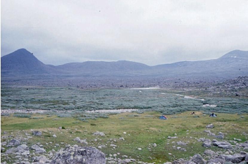 Sarek 2000. Lager bei Njavvepuolta.
