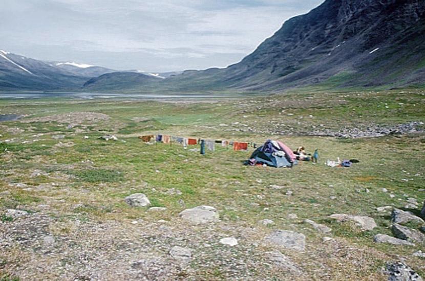 Sarek 2000. Waschtag oberhalb von Pielavalta.